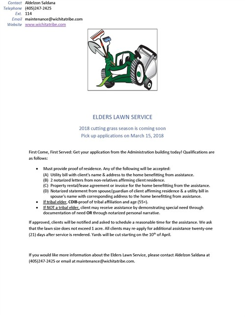 Elder Lawn Program Flyer