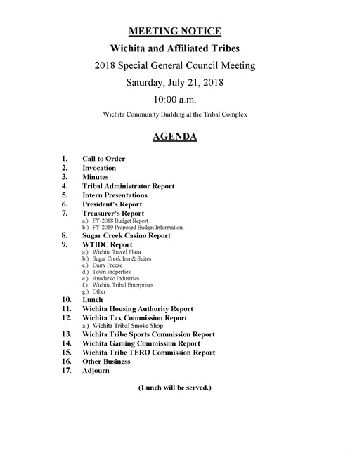 2018 Annual Meeting Agenda