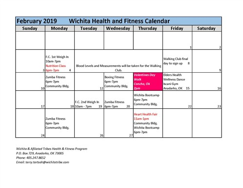 Fitness Center Feb Calendar