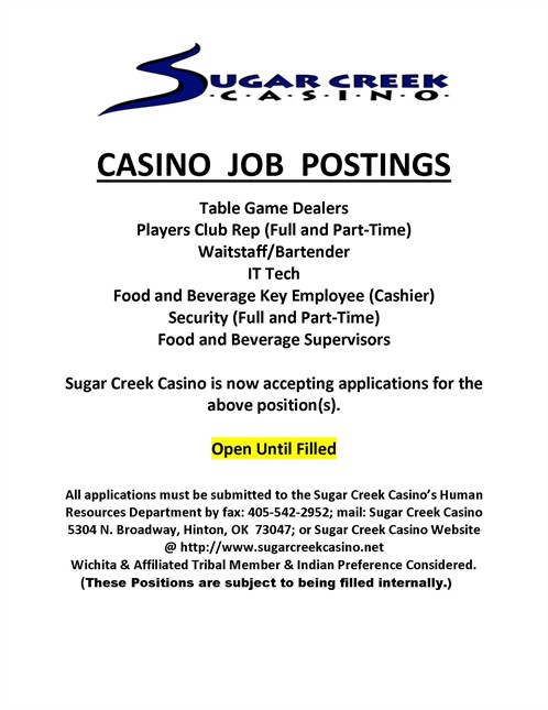 Casino Job Postings April 8 2019