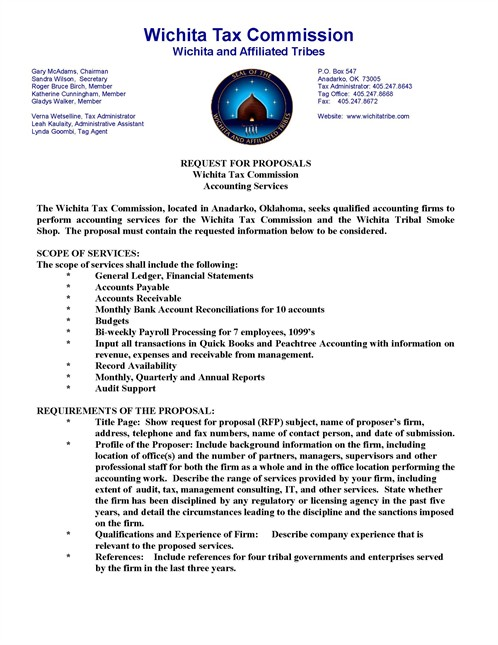 RFP: REQUEST FOR PROPOSALS - Wichita and Affiliated Tribes