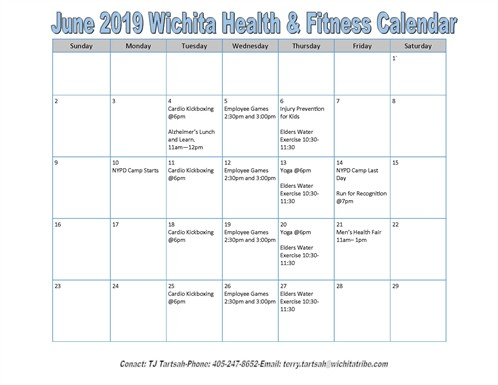 Fitness Center June Calendar