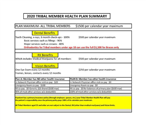 2020 Tribal Member Health Plan Summary
