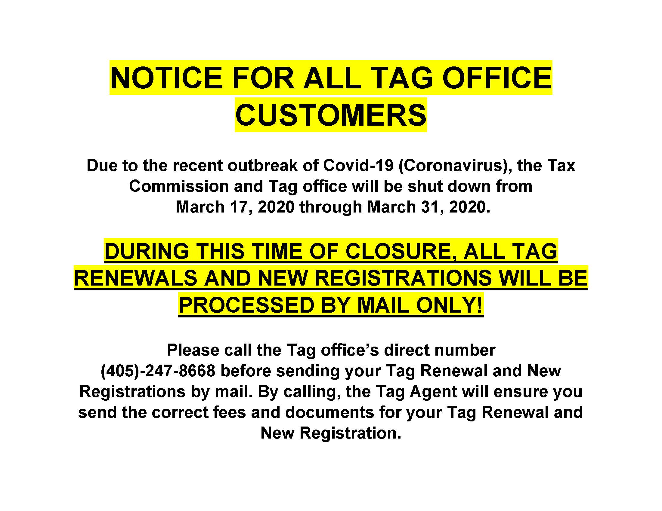 Tag Office Closing