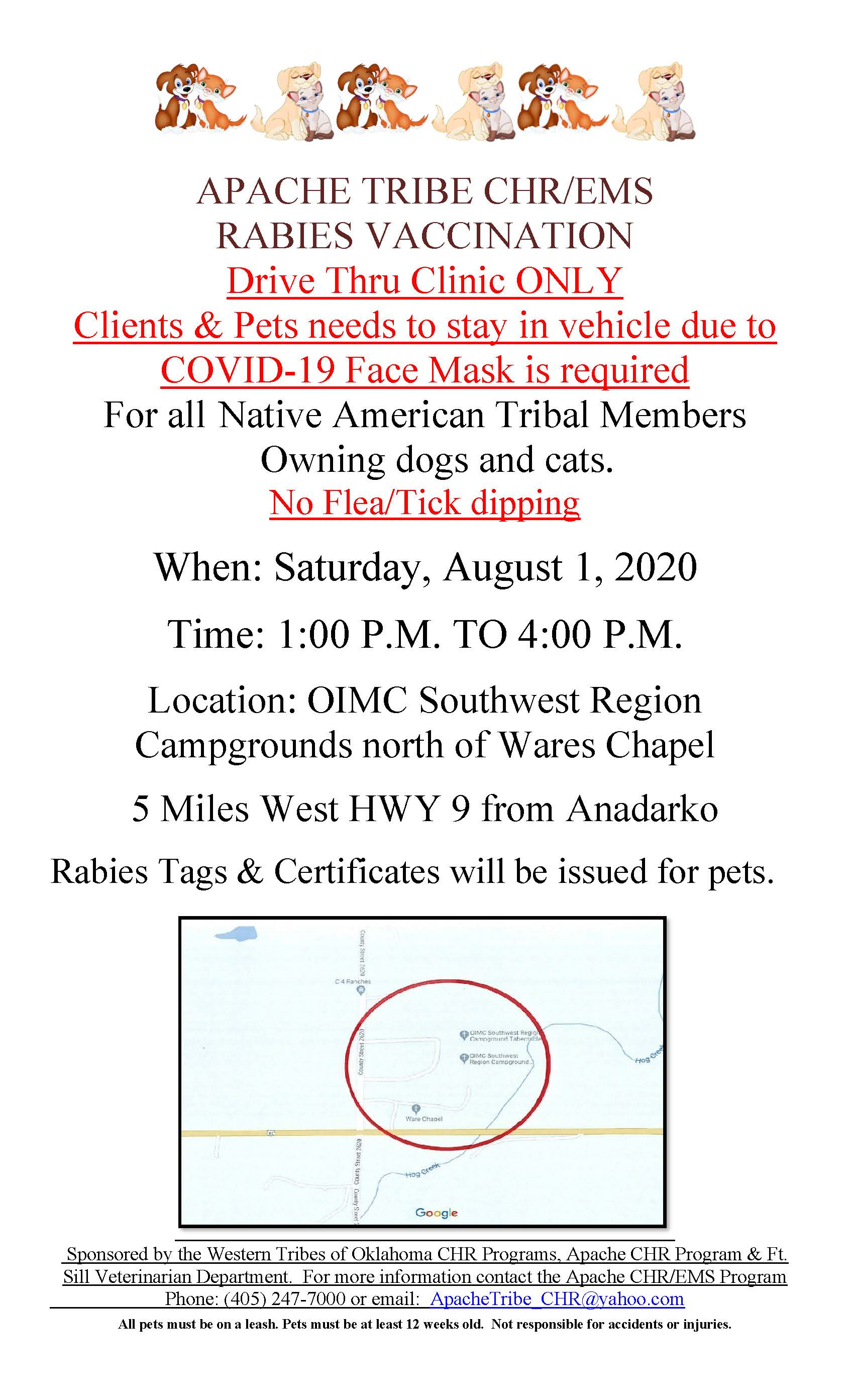 Rabies Clinic Saturday August 1st 1 PM to 4 PM